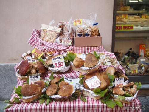 Street stall selling Porcini mushroom, another famous produce of the region
