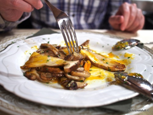 Roasted porcini mushrooms with egg yolk