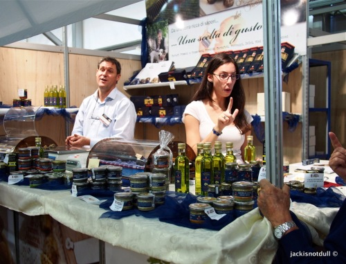 Stall selling white truffle oil, paste and other derivatives